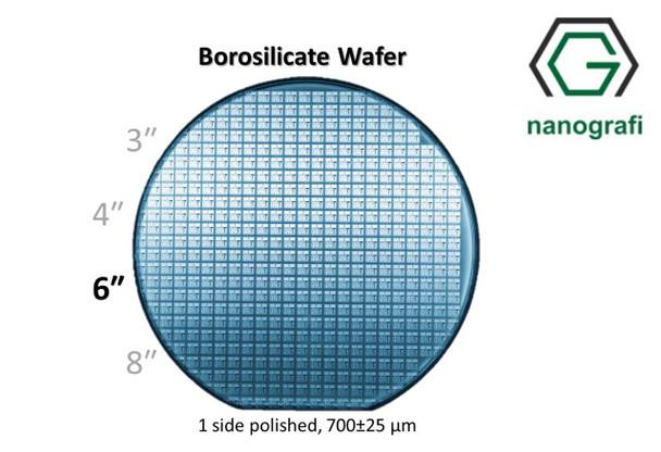 Boroslicate Wafer/Altaş,6 inç,1 Yüzeyi Parlatılmış,700 ± 25,