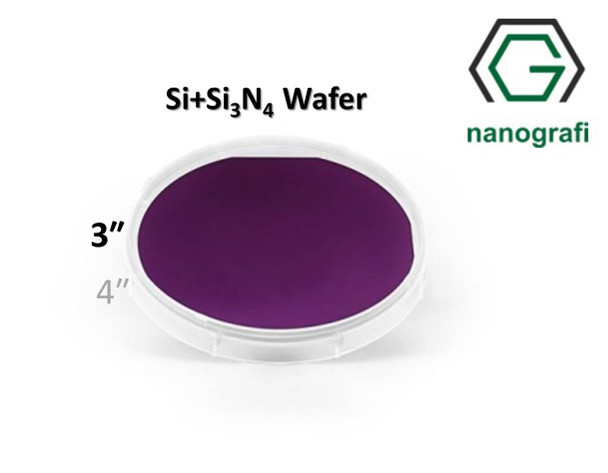 Prime Si+Si3N4 Wafer/Altaş, 3‰″,(100), Bor Katkılı, 1-10 (ohm.cm), 2 Yüzeyi Parlatılmış, 381± 25 um, Kaplama 150nm