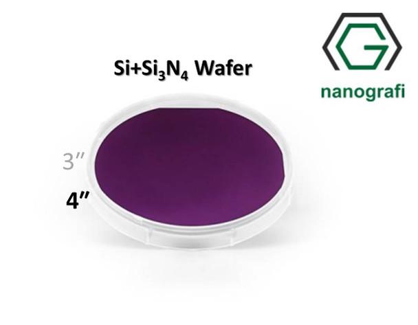 Prime Si+Si3N4 Wafer/Altaş, 4‰″,(100), Bor Katkılı, 1-10 (ohm.cm), 2 Yüzeyi Parlatılmış, 380± 15 um, Kaplama 1000nm
