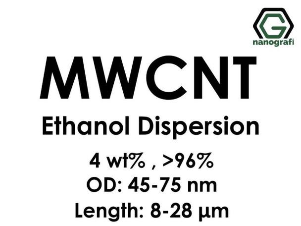 Çok Duvarlı Karbon Nanotüp Etanol Dispersiyon (4%ağ, >96+%, Dış Çap: 45-75 nm,Boy 8-28um)