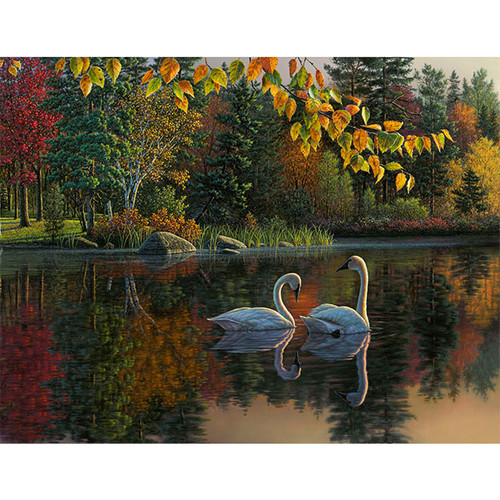 Autumn Swans - DIY Painting By Numbers Kit