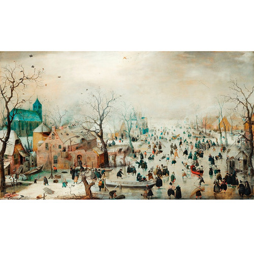 Winter Landscape with Ice Skaters - DIY Painting By Numbers Kit
