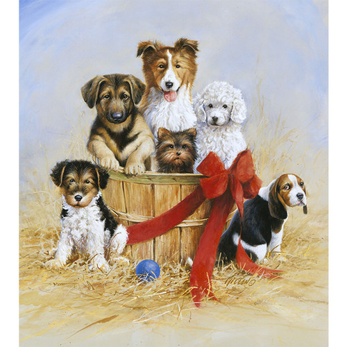 Basket of Joy Puppies - DIY Painting By Numbers Kit
