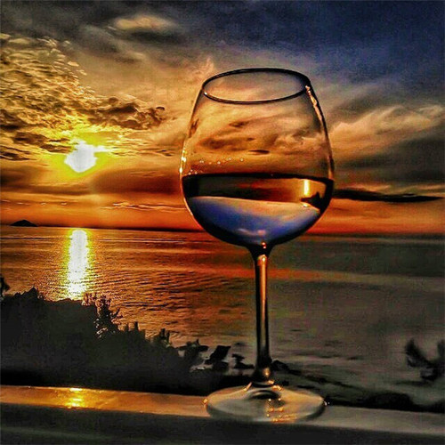 Wine Glass Ocean Sunset - DIY Paint By Numbers Kit