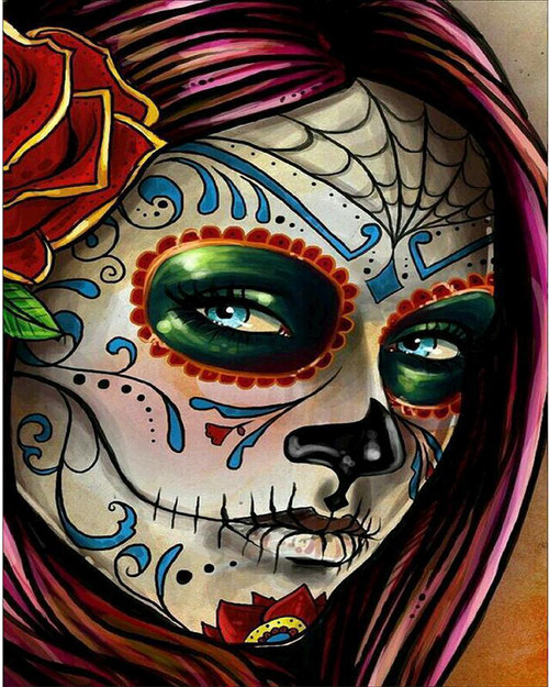 Halloween Girl Face Paint - DIY Paint By Numbers Kit