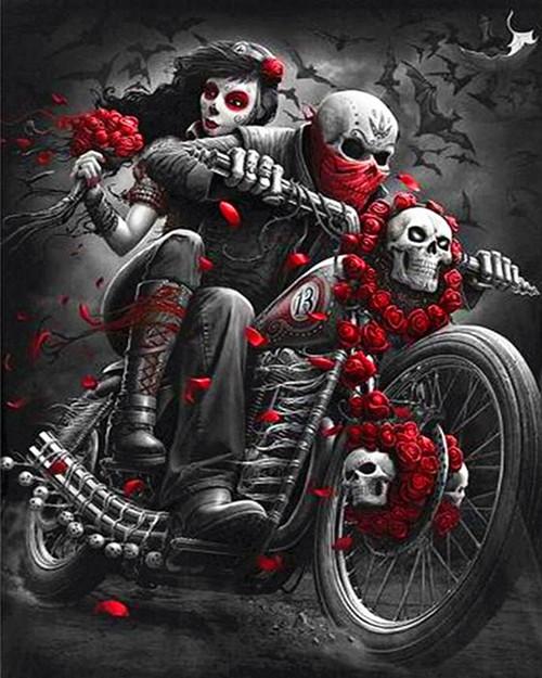 Dark Skeleton Ghost Rider  - DIY Paint By Numbers Kit