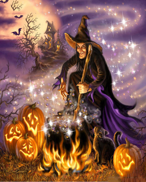 Halloween Witch Potion Brew - DIY Paint By Numbers Kit