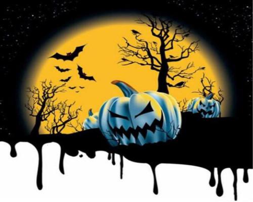 Night Sky Scary Pumpkin - DIY Paint By Numbers Kit