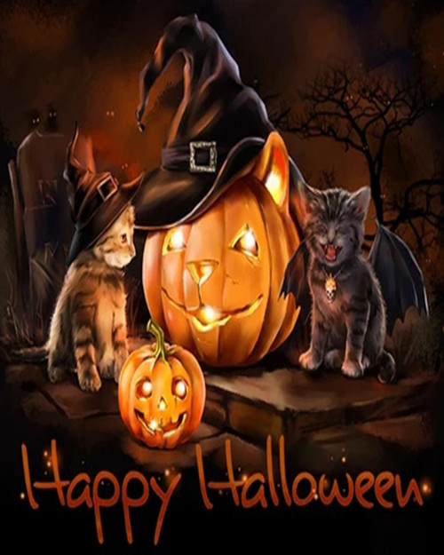 Cats & Jack O' Lanterns - DIY Paint By Numbers Kit