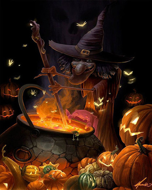 Witch's Stirring Pot - DIY Paint By Numbers Kit