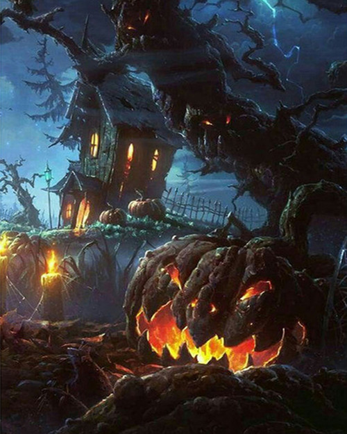 Jack O' Lantern Haunted House - DIY Paint By Numbers Kit