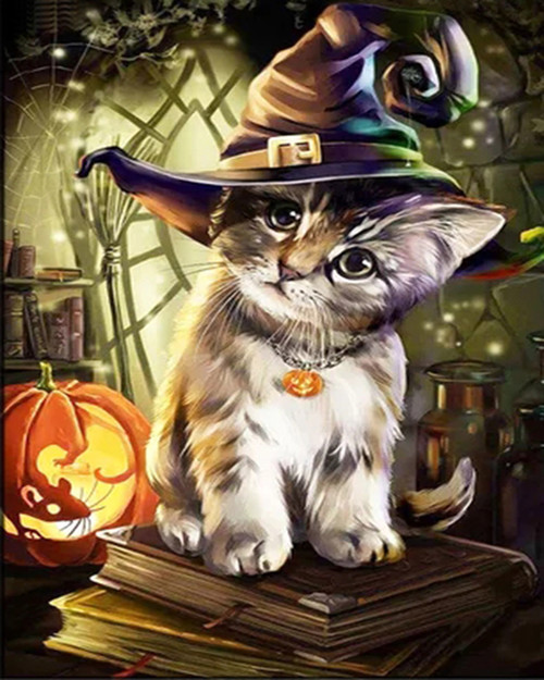 Cute Cat Witch Hat - DIY Paint By Numbers Kit