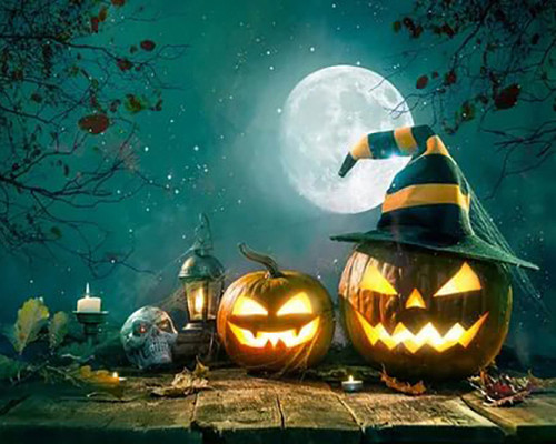 Moonlight Jack O' Lanterns  - DIY Paint By Numbers Kit