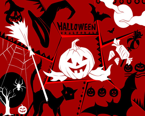 Red Festive Halloween Graphic  - DIY Paint By Numbers Kit