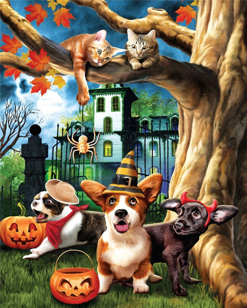 Animal Party Haunted House - DIY Paint By Numbers Kit
