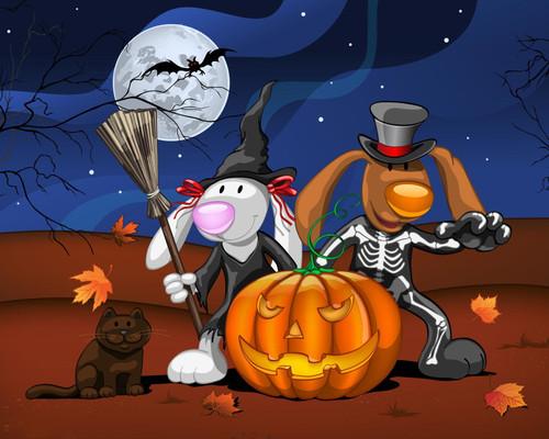 Cartoon Bunny Halloween - DIY Paint By Numbers Kit