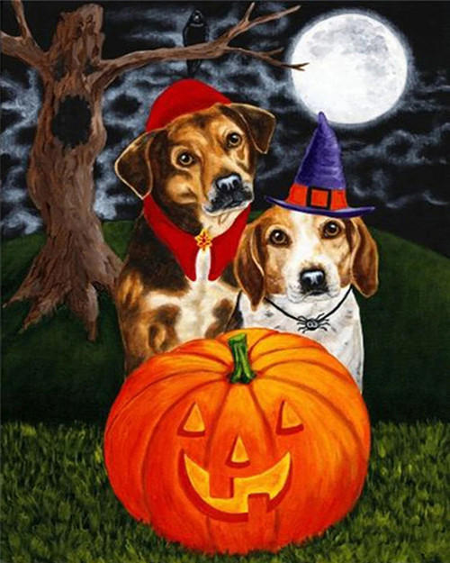 Happy Dogs Halloween - DIY Paint By Numbers Kit