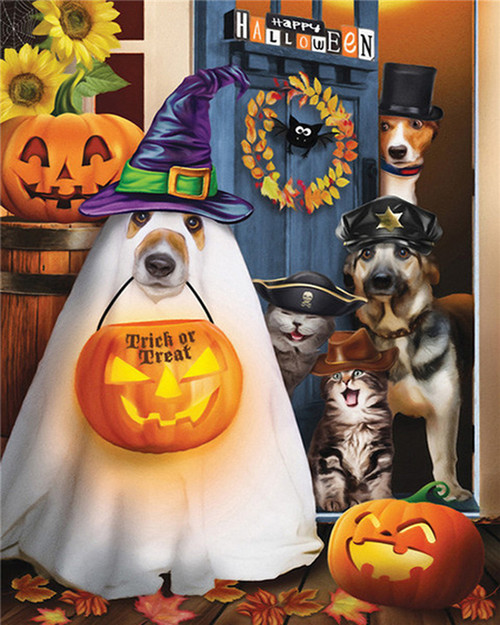 Trick Or Treat Dogs - DIY Paint By Numbers Kit