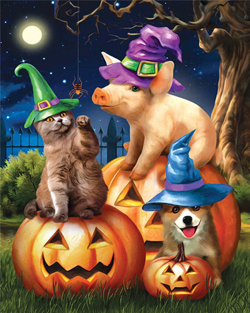 Piglet, Dog & Cat Halloween - DIY Paint By Numbers Kit