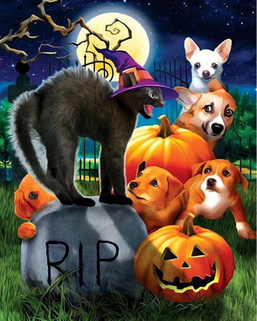 Graveyard Animals - DIY Paint By Numbers Kit