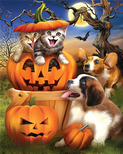 Cool Kittens Halloween - DIY Paint By Numbers Kit