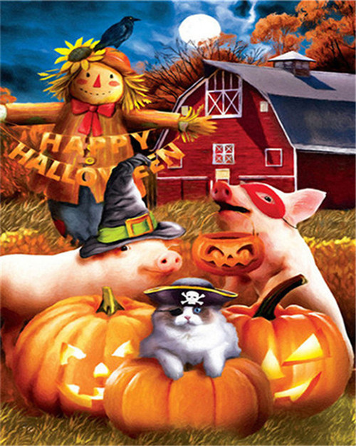 Happy Halloween Scarecrow - DIY Paint By Numbers Kit