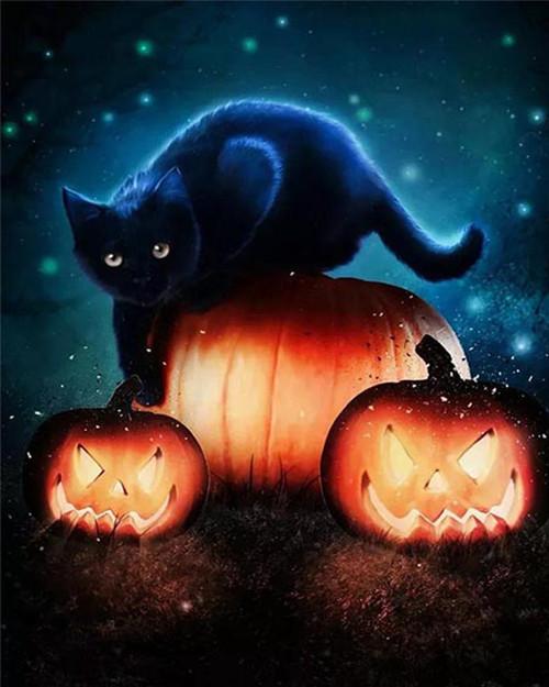 Nighttime Black Kitten - DIY Paint By Numbers Kit