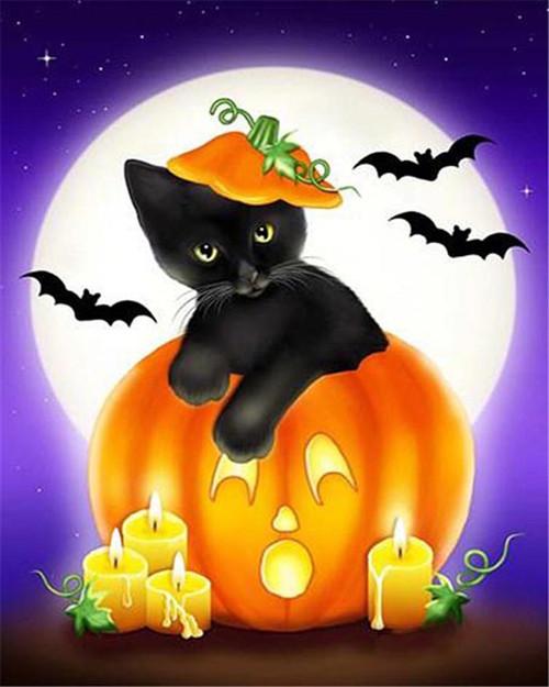 Cartoon Black Kitten Moonlight - DIY Paint By Numbers Kit