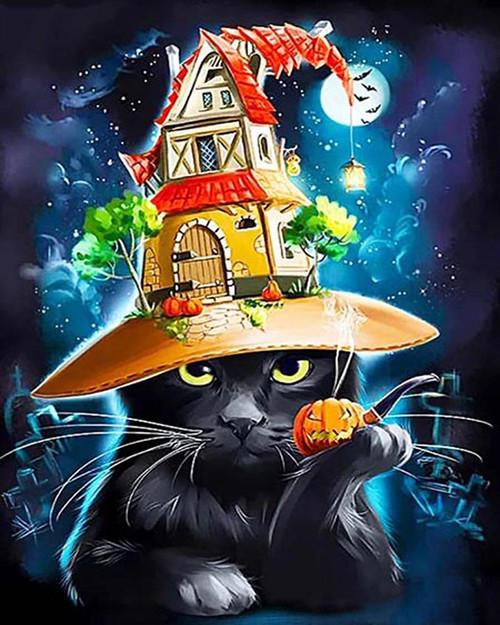 House Hat Black Kitten - DIY Paint By Numbers Kit