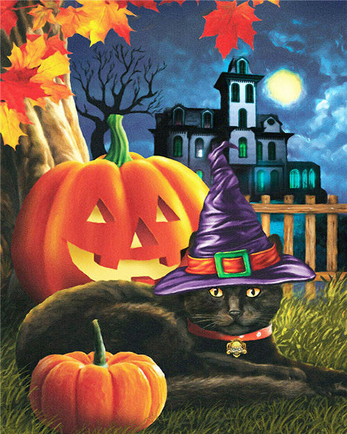Black Cat's Haunted House - DIY Paint By Numbers Kit