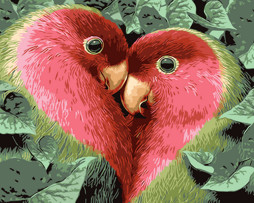 Red Love Birds  - DIY Paint By Numbers Kit
