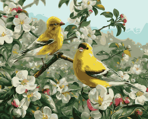 Yellow Chickadees  - DIY Paint By Numbers Kit