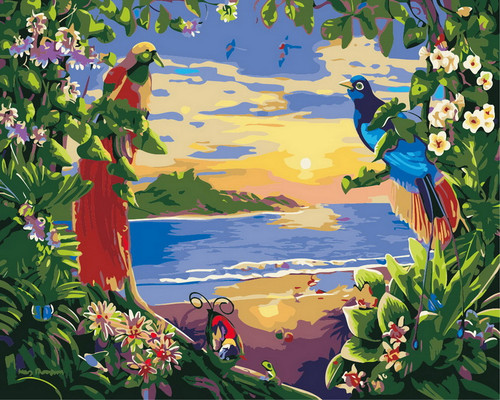 Tropical Birds Paradise  - DIY Paint By Numbers Kit