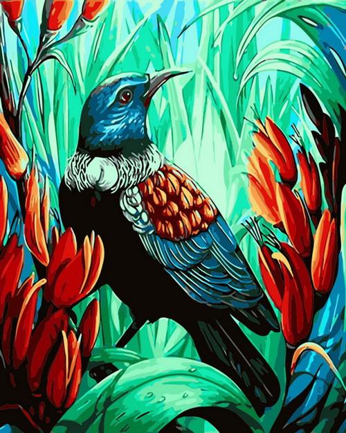 Beautiful Blue Bird Scenery  - DIY Paint By Numbers Kit