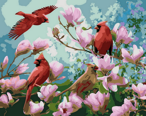 Soaring Red Cardinals  - DIY Paint By Numbers Kit