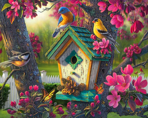 Nature's Bird House - DIY Paint By Numbers Kit