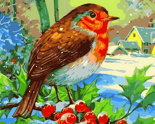 Red-Bellied Bird Winter Trees - DIY Paint By Numbers Kit