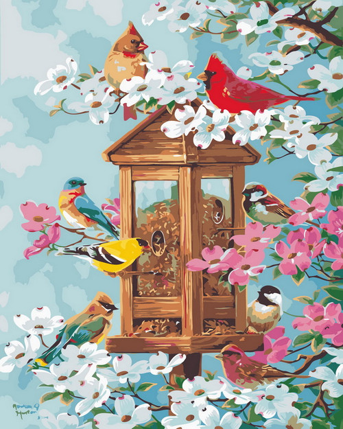 Simple Wooden Bird House - DIY Paint By Numbers Kit