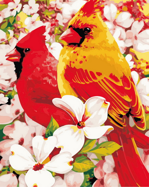 Glowing Red Cardinals - DIY Paint By Numbers Kit