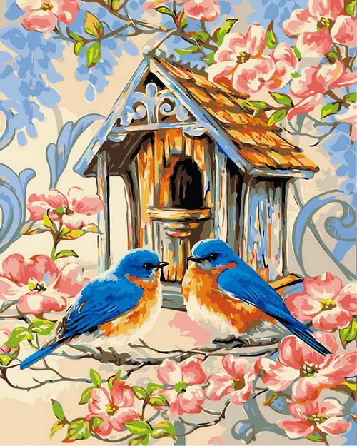 Quaint Blue Bird House - DIY Paint By Numbers Kit