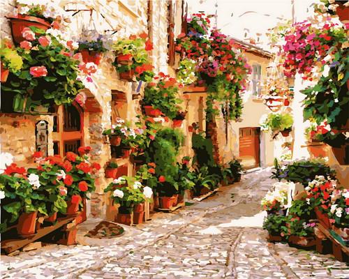 Floral Village Road - DIY Paint By Numbers Kit