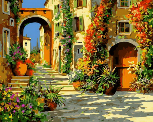 Arch Village Roads - DIY Paint By Numbers Kit
