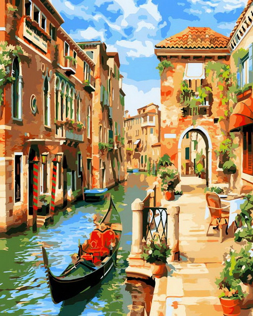 Gondola City Streets - DIY Paint By Numbers Kit