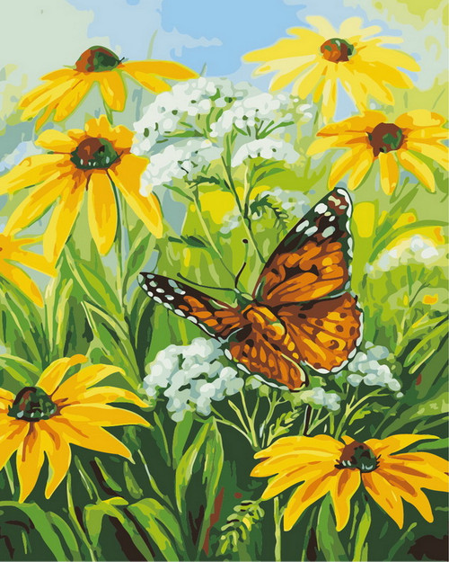 Flower Butterfly Scenery - DIY Paint By Numbers Kit