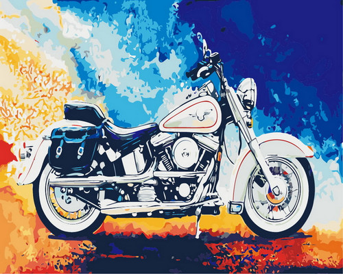 Colorful Abstract Motorcycle - DIY Paint By Numbers Kit