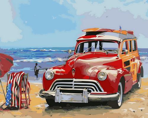 Beach Seaside Retro Car  - DIY Paint By Numbers Kit