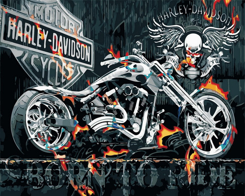 Industrial Motorcycle Graphic  - DIY Paint By Numbers Kit