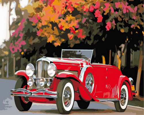 Cherry Red Retro Convertible  - DIY Paint By Numbers Kit