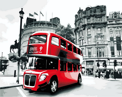 Double Decker Red Bus - DIY Paint By Numbers Kit