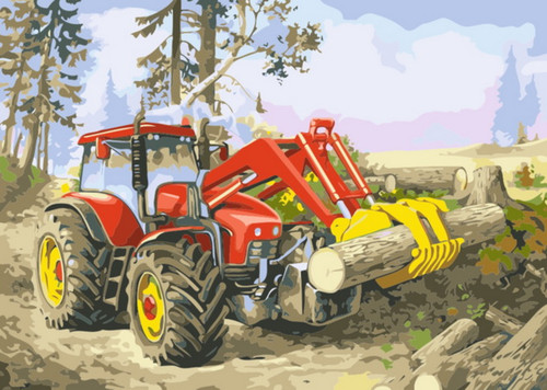 Farmland Forest Tractor - DIY Paint By Numbers Kit